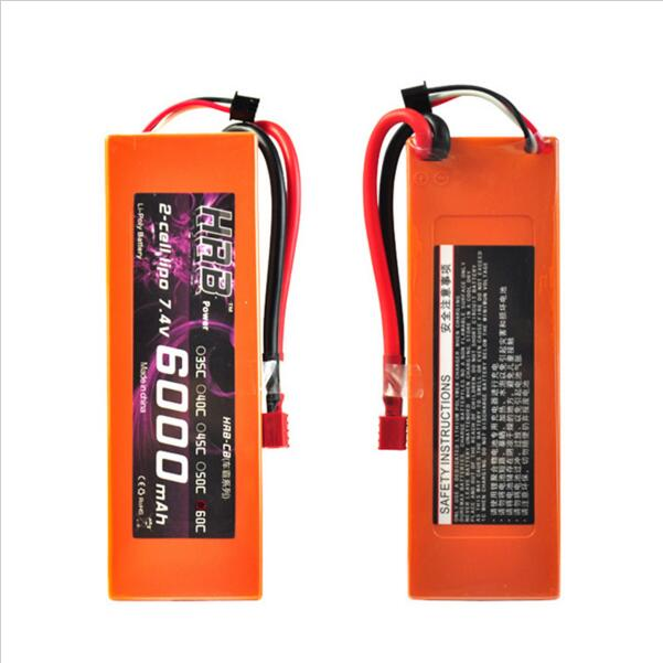 HRB Orange Hard Case Lipo Battery 7.4V 6000mah 60C-120C For 1/10 Scale Traxxas Car Truck Boat Drone Helicopter