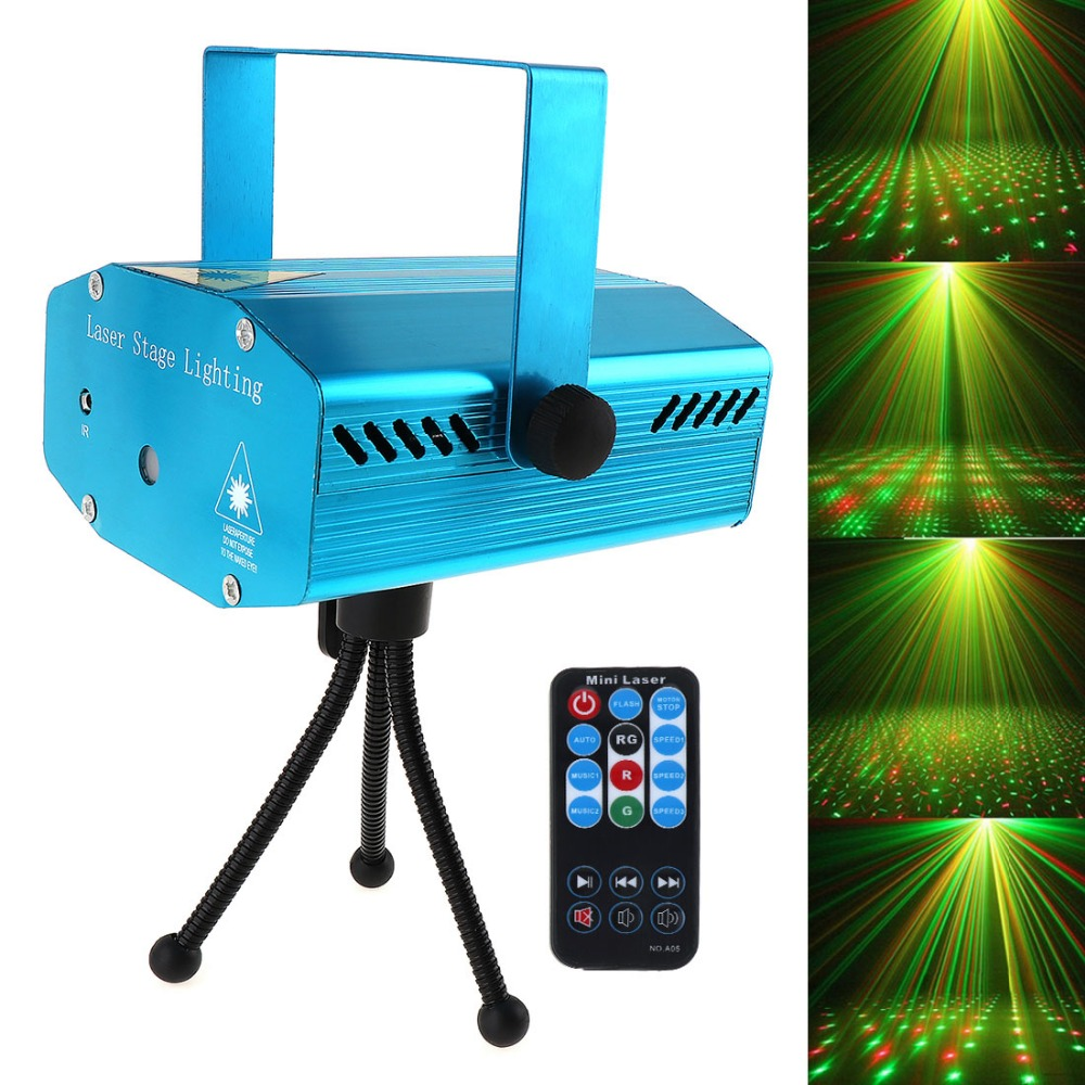 Venta caliente RED Mini R&G Auto / Voice Xmas DJ Disco LED Laser Stage Light Proyector con control remoto