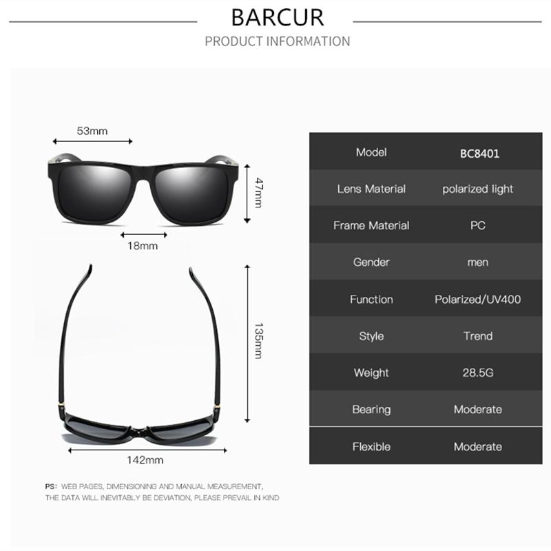 58238afe90a BARCUR Matte Black Plastic Wide Mens Sunglasses Luxury Lasses 2017 ...