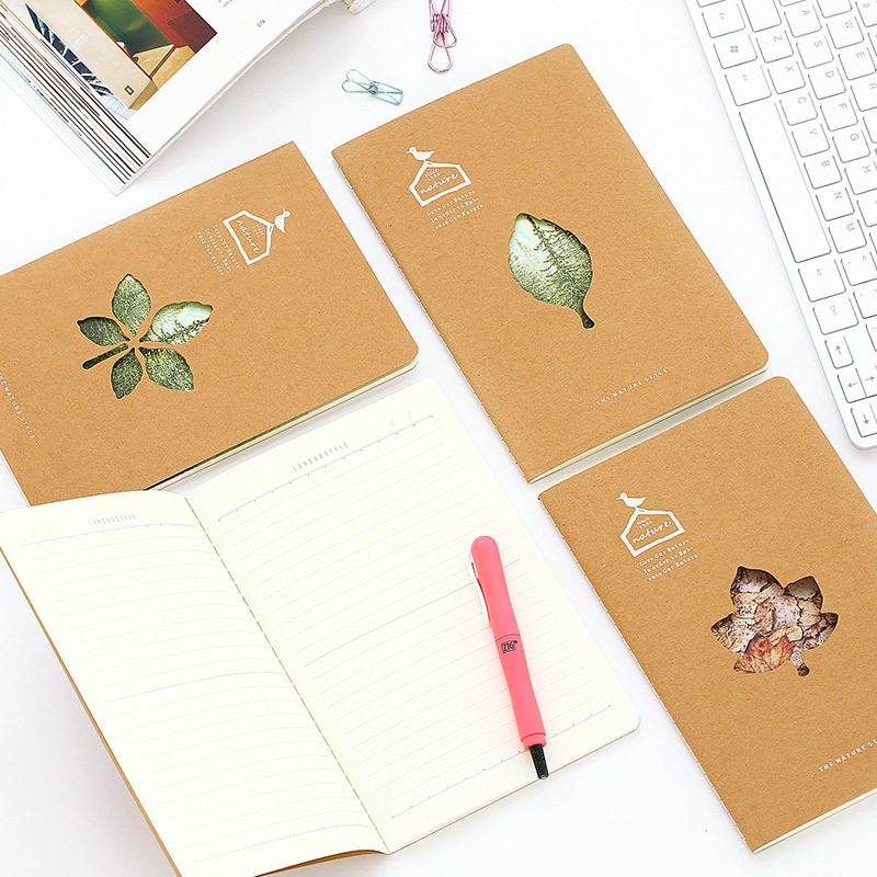 Notebooks 1 Piece Random Cover Vintage Retro Style Maple Cutout Notepad Soft Cover A5 Notebook With Lines Stiching Binding School Notebook Outstanding Features