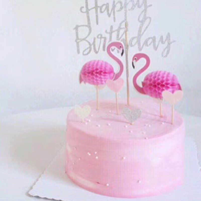 3D Flamingo Cupcake Toppers DIY Cakes Star Topper Picks Pinapple Wedding Birthday Party Decoration Baby