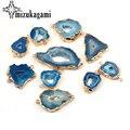 1 шт. натуральный каменный Шарм Подвеска  пустая синяя геометрия  двойное отверстие s  соединитель  подвески для ожерелья  ювелирные изделия  ...