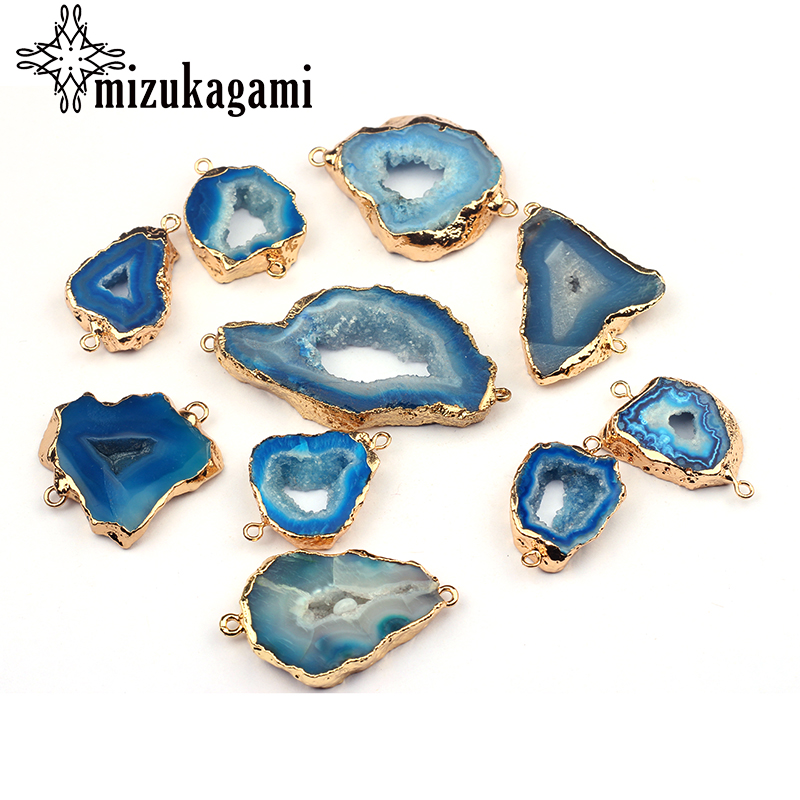 1pcs Natural Stone Charms Pendant Hollow Blue Geometry Double Hole Agates Connector Charms For DIY Necklace Jewelry Accessories