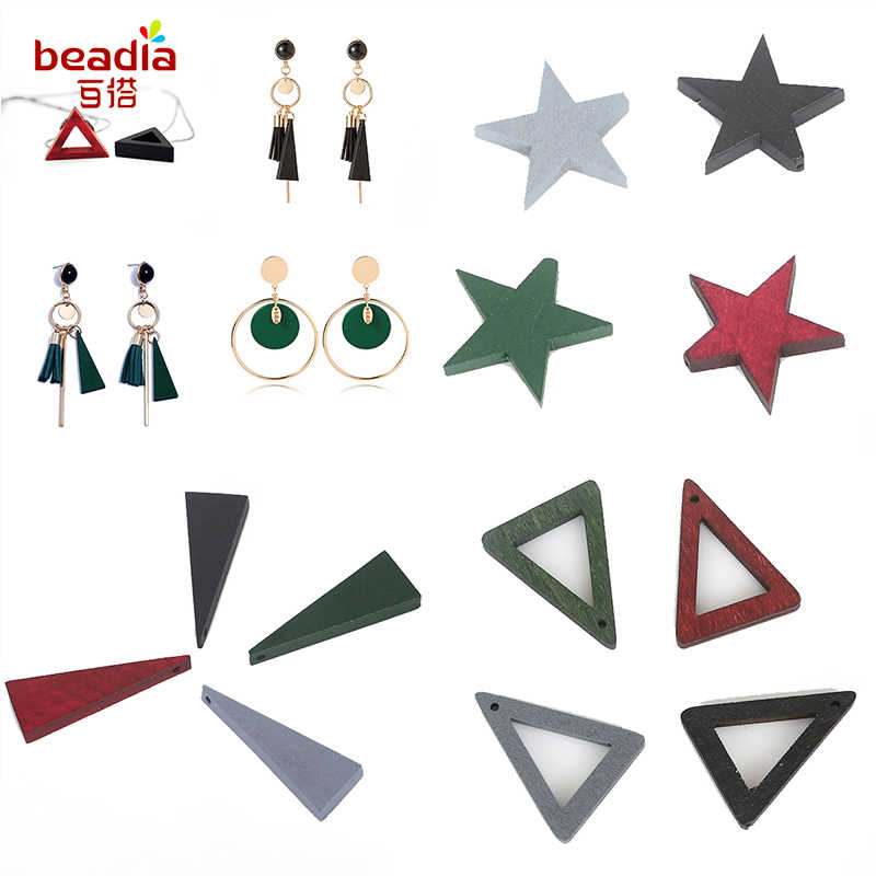 Mix Size Pick 10-20pcs/Pack Wooden Charms Pendant Diy Fashion Earring Findings Round/Leaf/Hollow Triangle/Geometric Star Shape