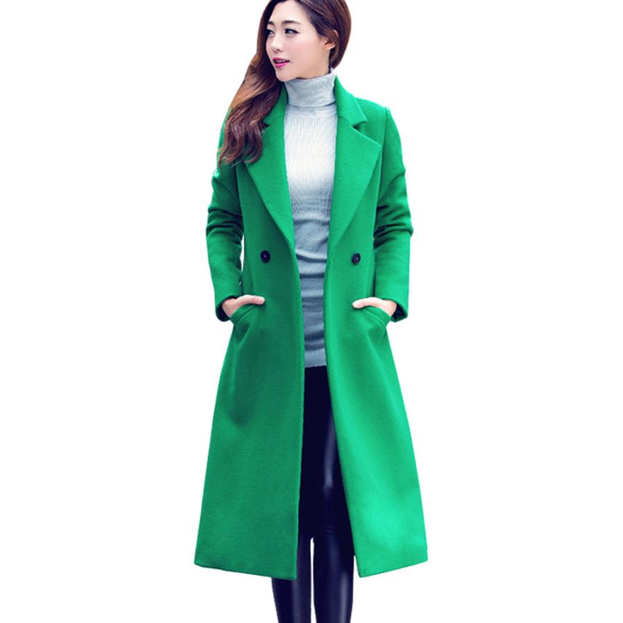 2018 Fashion Korean Button Long Solid Slim Mujer Womens Fashion Autumn Winter Long Woolen Coat Overcoat Parka Outwear Cardigan