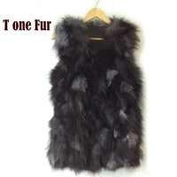 Free shipping Genuine fox fur vest women's long fox fur jacket winter fox fur coat custom big size Wholesale HP397