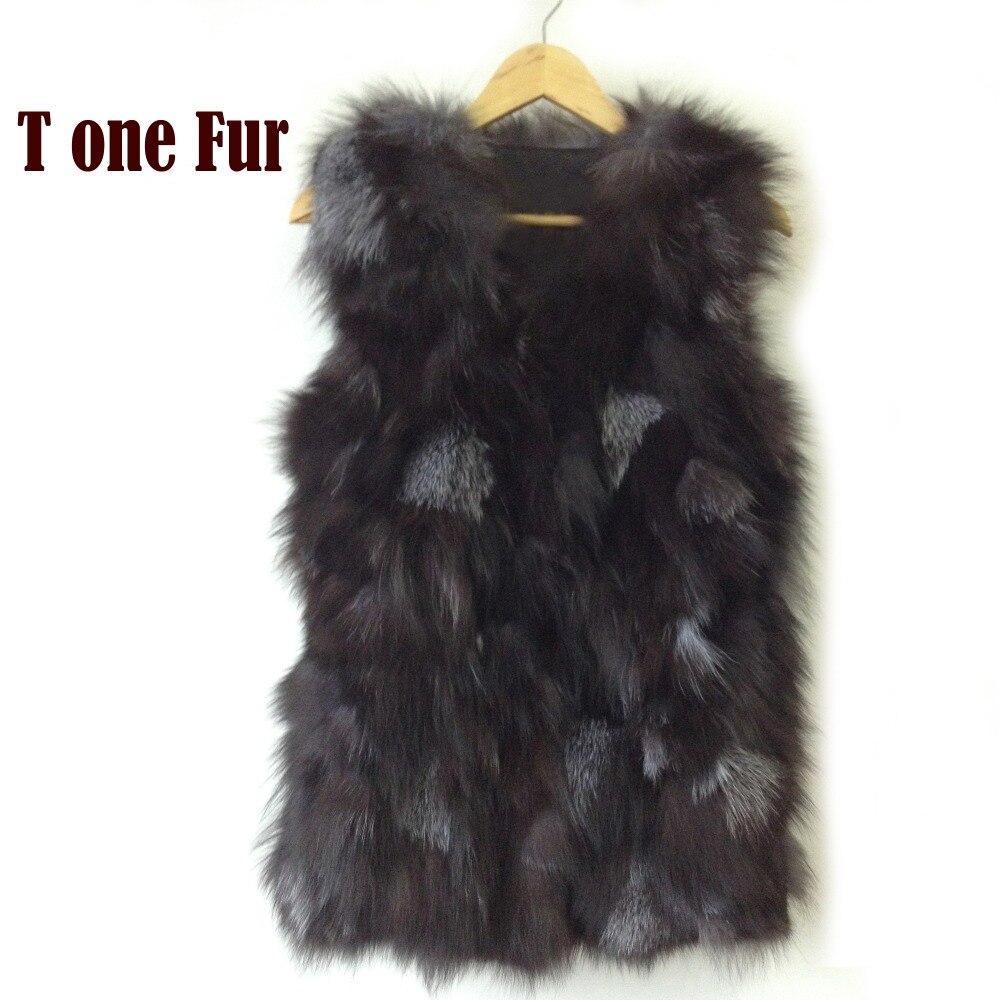 Livraison gratuite Véritable fourrure de renard gilet femmes de longue fourrure de renard veste hiver fourrure de renard manteau personnalisé grande taille En Gros HP397