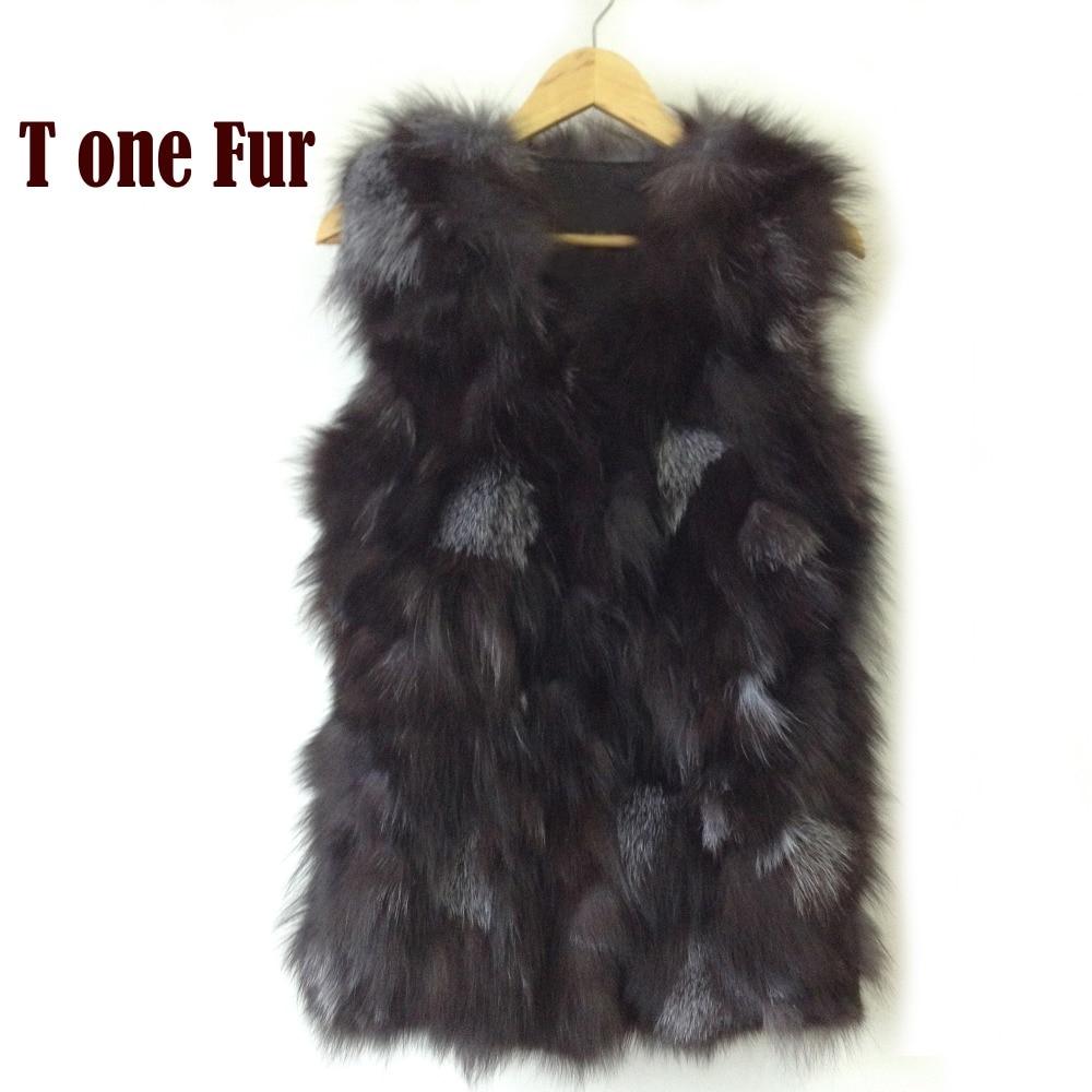 Livraison gratuite véritable renard fourrure gilet femmes long renard fourrure veste hiver renard fourrure manteau personnalisé grande taille en gros HP397