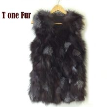 Free shipping Genuine fox fur vest women's long fox fur jacket winter fox fur coat custom big size Wholesale HP397(China)