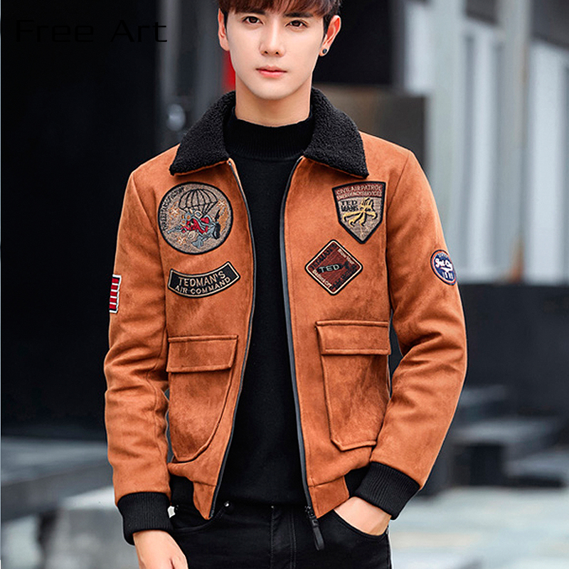 Epaulet Rib Sleeve Zipper Short Turn down Collar Casual Winter New Freeshipping Sale Jaqueta Masculino Bomber Jacket Men-in Jackets from Men's Clothing    1