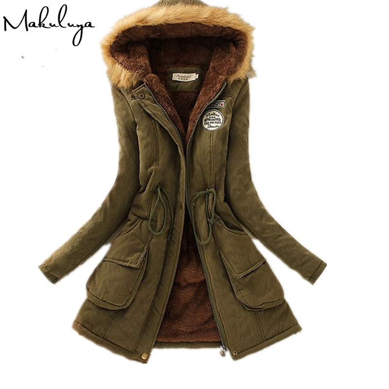 Makuluya Cold Winter Super Warm Outwear Updated Cotton Women Coats Long Sleeve With Fur Hat Thickening Long Style Women   Parka   QW