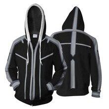 цена на Men Women 3D Hoodies for Anime Sword Art Online SAO Kirigaya Asuna Cosplay Hoodie Coat Casual Zipper Sweatshirts Jacket