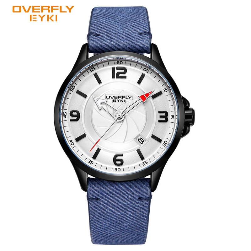 EYKI Brand Men Military Sport Watches Calendar Display Watch Male Leather PU Luminous Pointer Wrist Watch Relogio Masculino Box
