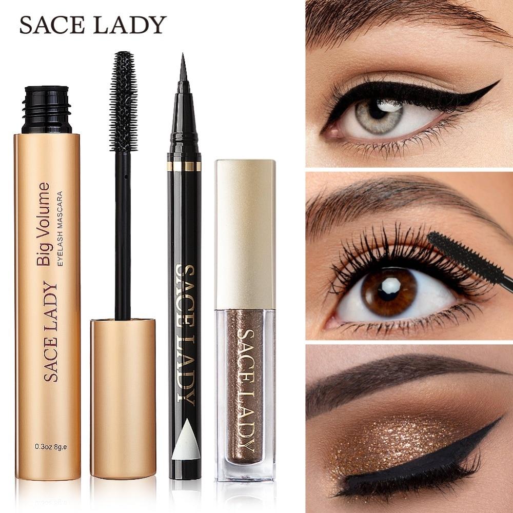 SACE LADY maquillaje profesional de ojo Set sombra de ojos brillante delineador de ojos negro máscara de maquillaje sombra de ojos Kit de marca cosmética impermeable