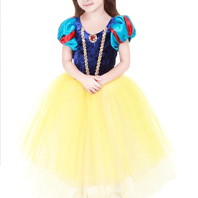New Fashion Girls Princess Costumes Dresses Children's Day Show Snow White Vestidos with Dress Cloak Kids Lovely Cosplay Clothes