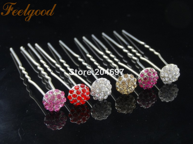 Feelgood 200pcs lot New Colorful Disco Ball Alloy Crystal Rhinestone  Hairpins Hair Jewelry Wedding Accessories 5adc7c04c5b1