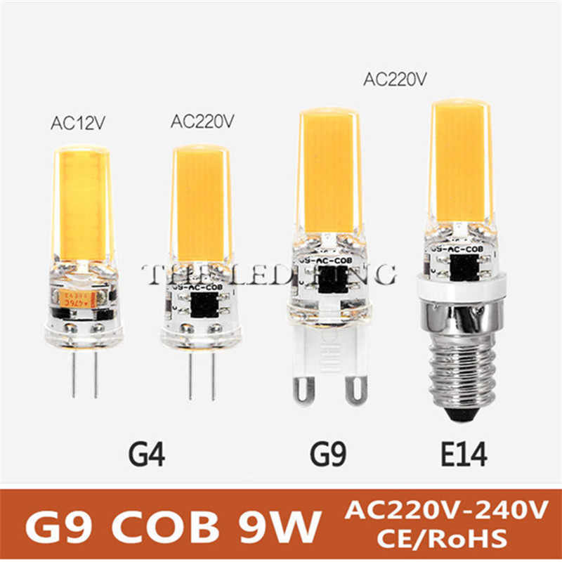 Super Bright G9 Bulbs Light Dimmable Led Warm/White 220V 7W 10W 15W LED G9 COB LED lamp light G4 AC DC 12V led Spotlight