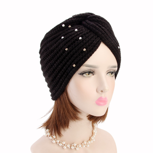 fab70b20c45df New luxury Women s Winter Warm beaded knit Turban Cross Twist Arab Hair  Wrap Beanie for ladies India Style cap hair Accessories