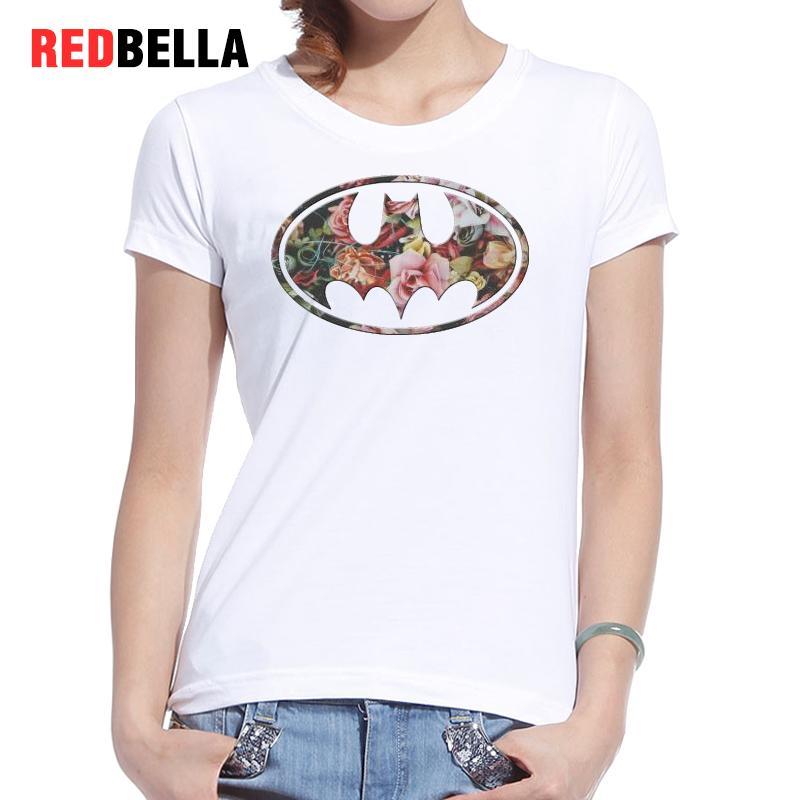 REDBELLA 2017 font b Women b font Logo T shirt Flowers Bat Dark Knight Art Graphics