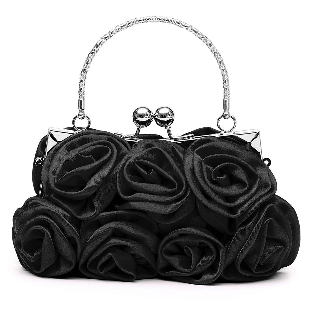 Floral Ladies Clutch Bag Rose Clutch bags Women Hand made Luxury Evening Bags for Party Wedding black Bolsa Feminina