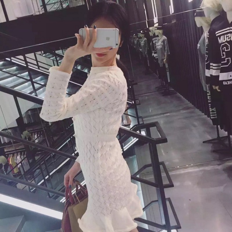 Lady Printemps Ruches Manches Femmes Mini En Perles Mince Moulante Longues Robes Robe Tricot Sirène Blanc À Chandail Office Automne black White cRj534AqL