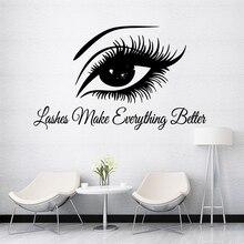 Modern Beautiful Lash Wall Art Sticker Decals For Beauty Salon removable mural Stickers Decal Wallpaper