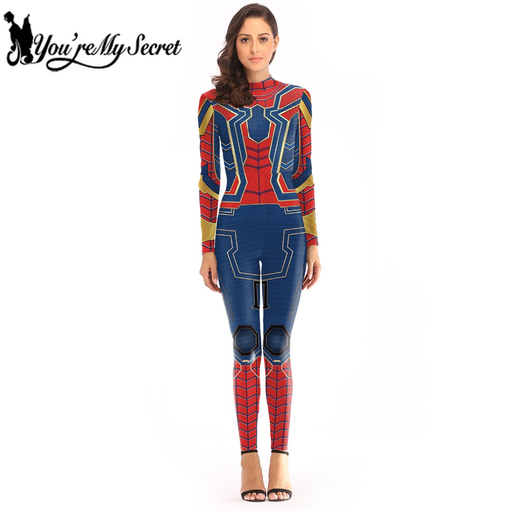 [You're My Secret] 2019 New Fashion Avengers Infinity War SPIDER MAN Bodysuit for Women Superhero INSOMNIA PS4 Cosplay Constume
