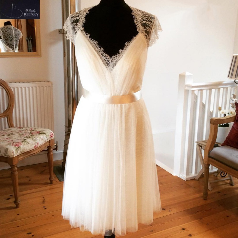 White Wedding Gown Styles: 2018 New Style Short Wedding Dress Lace Tulle White Ivory