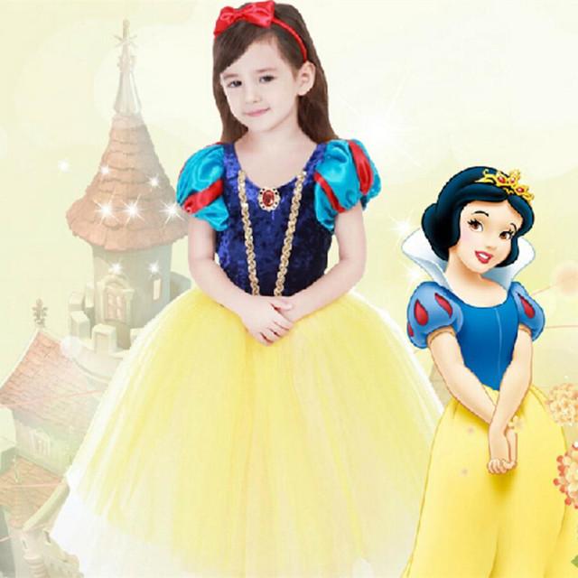 2016 Niños Blancanieves Princesa Vestido de Las Niñas Vestidos de Ropa de Los Niños Visten Traje de Cosplay de la Navidad Del Tutú Bebé Paño