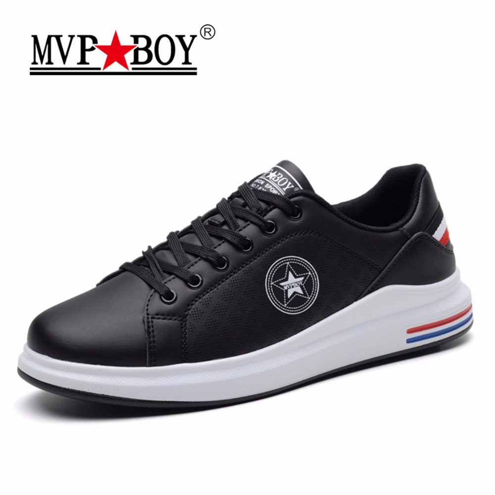 MVP BOY Brand Fashion Men Casual Shoes Super Soft High Quality Classic White Black Shoes Men 2017 Casual Leather Sneaker Male monster mvp white