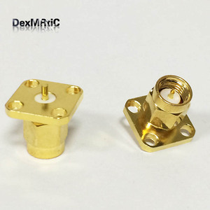 1pc SMA male plug RF Coax Connector solder post Cable 4-hole panel mount Goldplated NEW wholesale