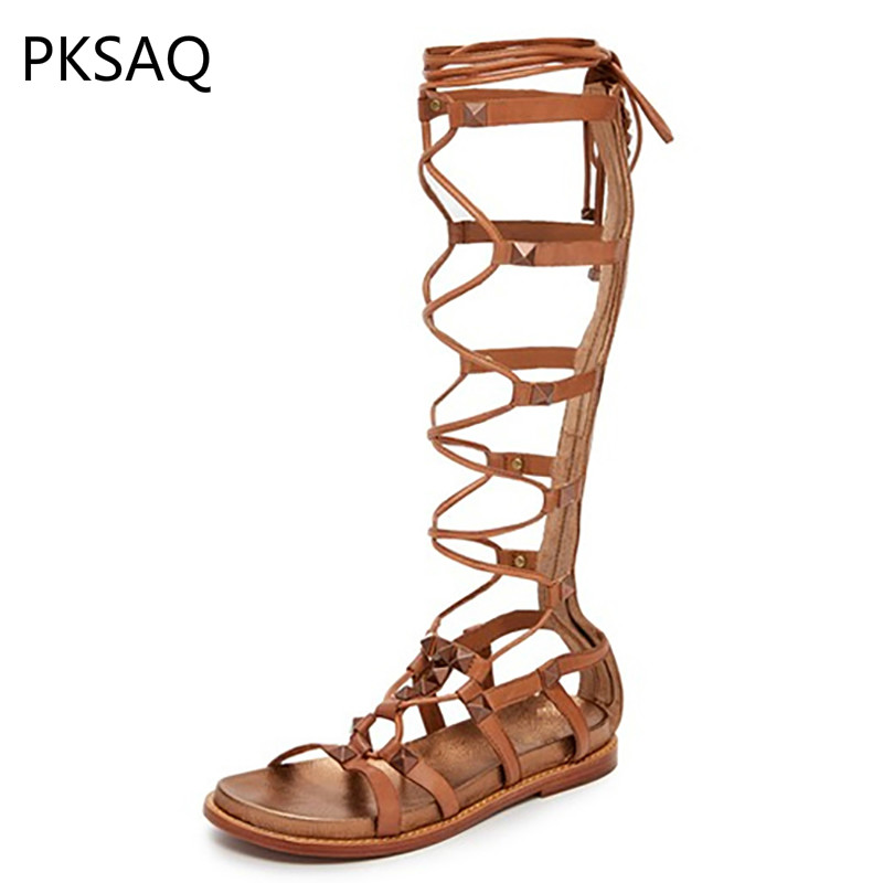 Summer Women Roman Style Sandals Shoes Lady Cross-tied High Cylinder Party Cool Boots Fashion Flat Shoes B chic beige band cool summer lady style straw hat for women