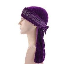 купить New Luxury Velvet Durag Rhinestoned Headwrap do rag по цене 235.77 рублей
