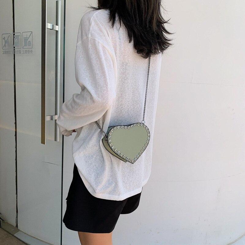 Female Crossbody Heart Bag For Women 2019 Quality Leather Luxury Handbag Designer Sac Main Ladies Diamond Shoulder Messenger Bag in Shoulder Bags from Luggage Bags