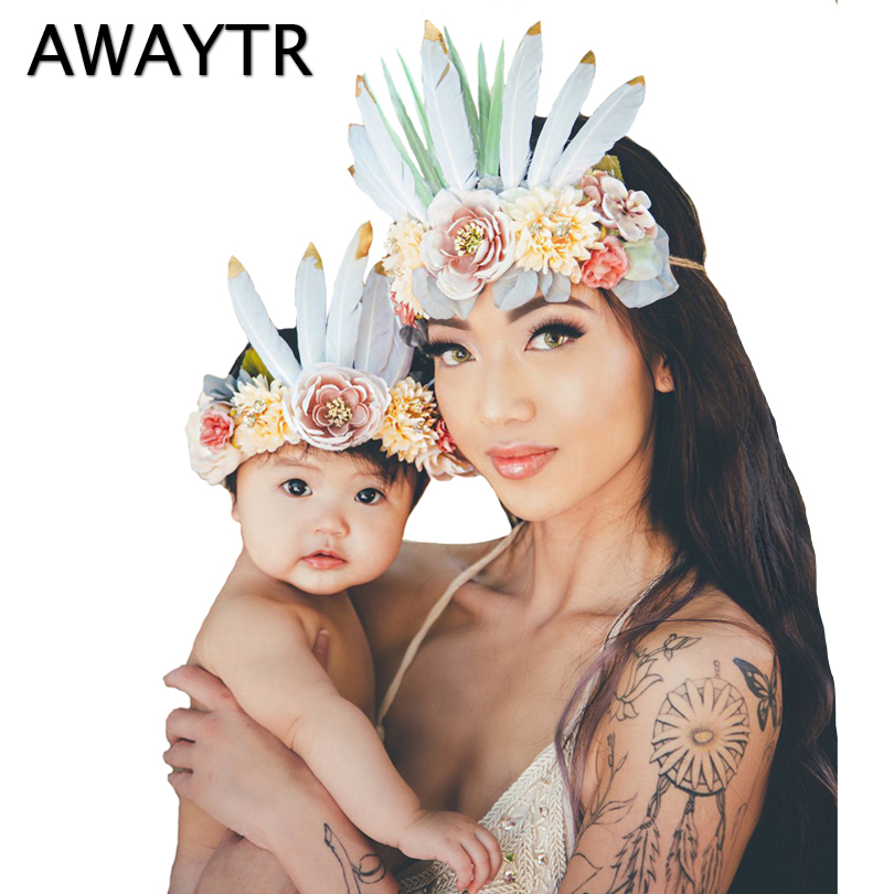 awaytr 2 pcslot mom and kids headwear feather flower crown bohemian hair accessories elastic headband party halloween festival