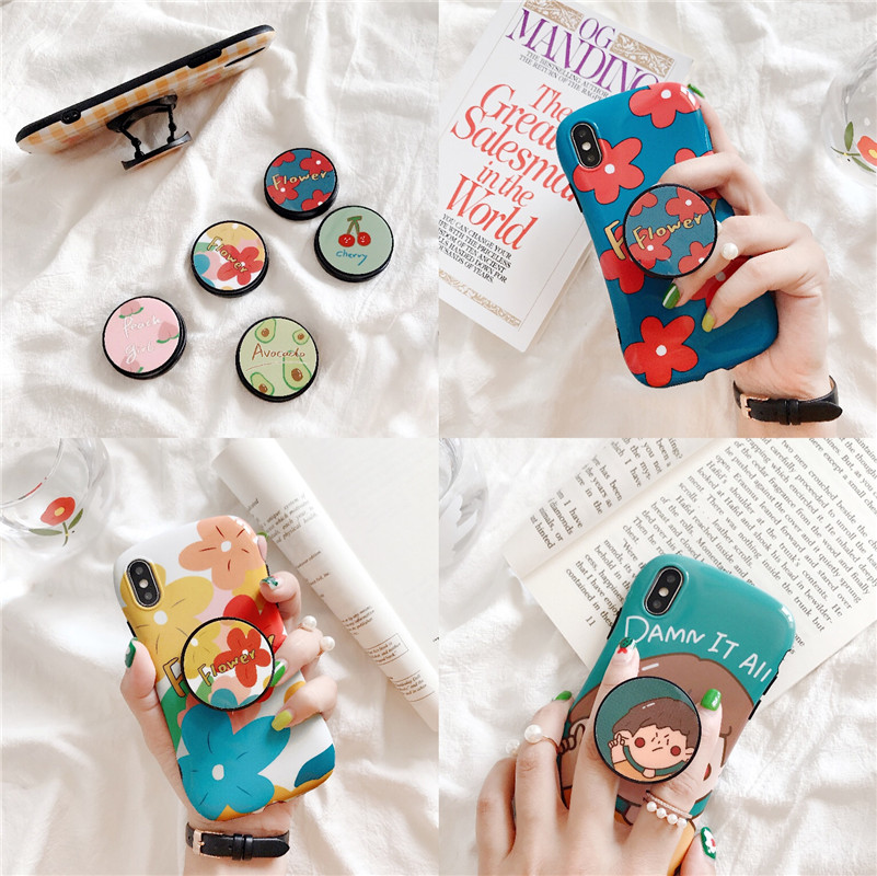 Girl's Cartoon Cute Avocado Cherry Expanding Universal Phone Holder Fold Stretch Grip Finger Ring Stand For Iphone XR XS 7 Plus