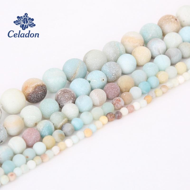 Natural Stone Beads Dull Polish Matte Amazon Beads For Jewelry Making DIY...