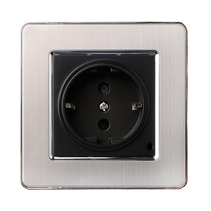 Heimwerker 16a Eu Standard Steckdose Luxus Power Outlet Enchufe Edelstahl Gebürstet Silber Panel Elektrische Stecker Ac 110 ~ 250 V Billigverkauf 50%