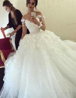Lace Vestido De Noiva 2019 Muslim Wedding Dresses Ball Gown Long Sleeves Tulle Boho Dubai Arabic Wedding Gown Bridal Dresses