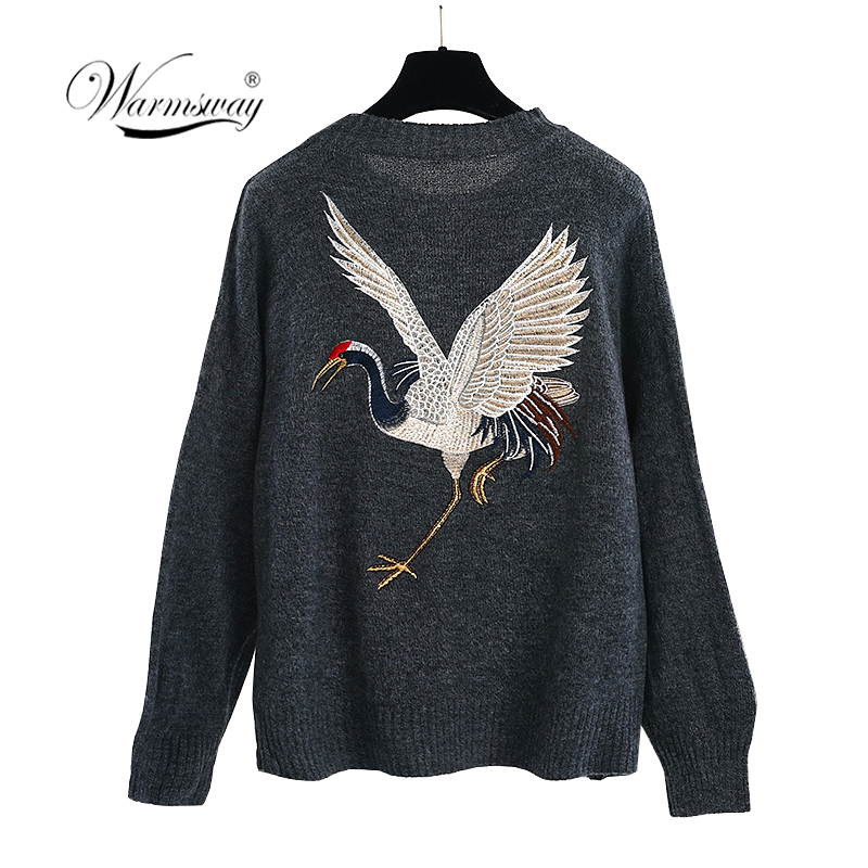 New Autumn Winter Sweater and Pullover Women Crane Embroidery Grey Solid Knitted Tops Luxury Fashion Pullovers Jerseys B 065