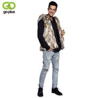 GOPLUS 2017 Casual Winter Warm Mens Faux Rabbit Fur Vest Fashion Hooded Sleeveless Coat For Men