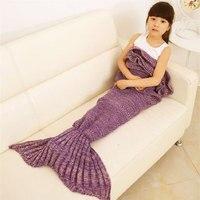 Filato Lavorato A Maglia Mermaid Tail Bambini Coperta Handmade Crochet Mermaid Super Morbida Coperta di Sacco A Pelo