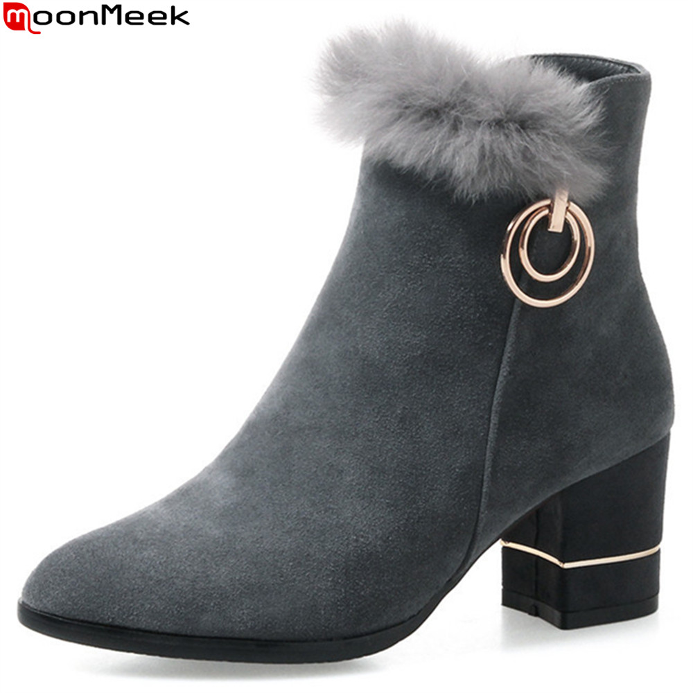 MoonMeek fashion winter new women boots pointed toe ladies cow suede boots zipper square heel bling ankle boots big size 33-43 ladies boots 2017 casual winter black suede round toe square heel ankle boots for women custum large size zipper shoes us 4 15 5