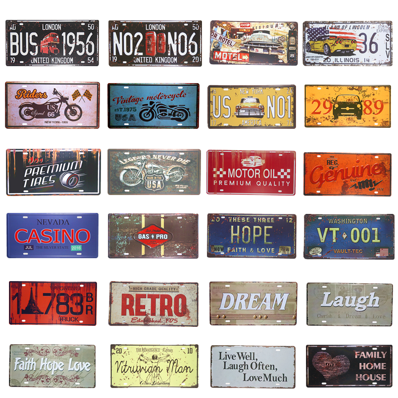 Metal Tin Signs US Route 66 Garage Car License Plate Art Poster Motor Hot Rod Retro Panels, Home Decor, Man Cave