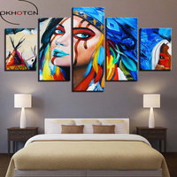 OKHOTCN Canvas Wall Art HD Prints Framework 5 Pieces Indians Feathers American Native Girl Poster Living