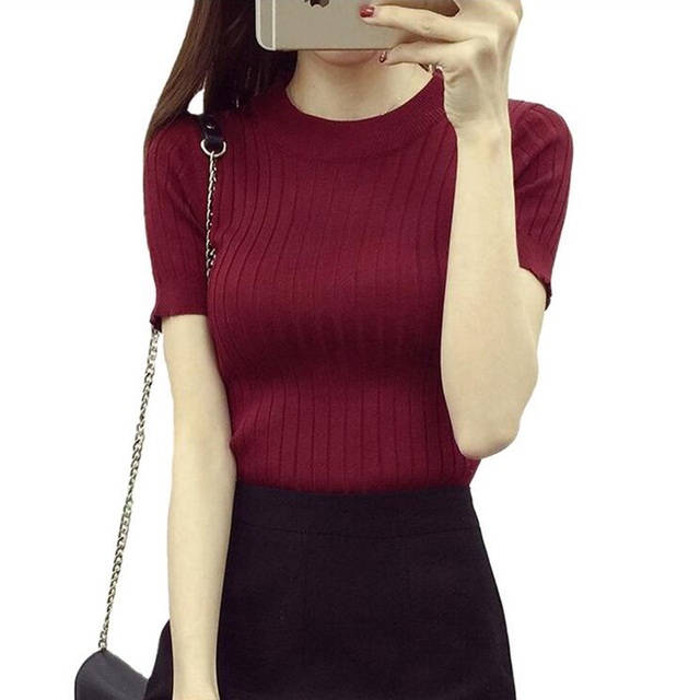 Women Fashion Sweater 2018 High Elastic Winter Green Red Black Tops Women Knitted Pullovers Short Sleeve Shirt Female Clothes 4