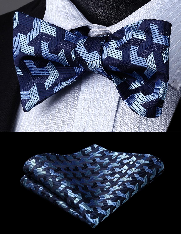 Men Woven Party Wedding Navy Blue Geometric Self Bow Tie Pocket Square Set#BG804BS Bow Tie Handkerchief Set