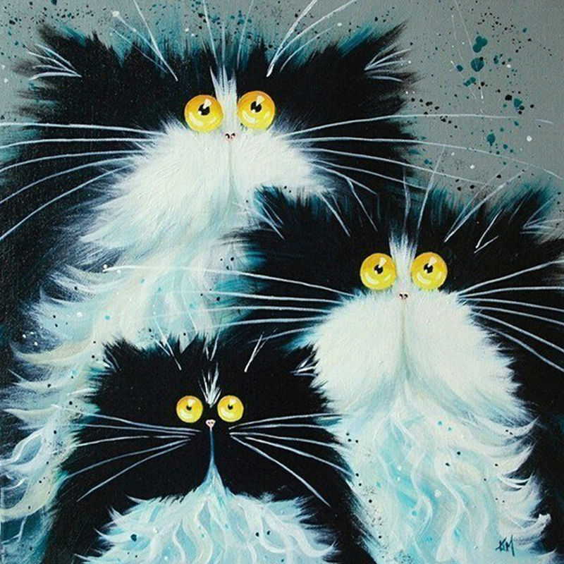 GLymg Diy Diamond Painting Three Cats Diamond Embroidery All Square Drill Black White Cat Rhinestone Mosaic Picture Cat Family