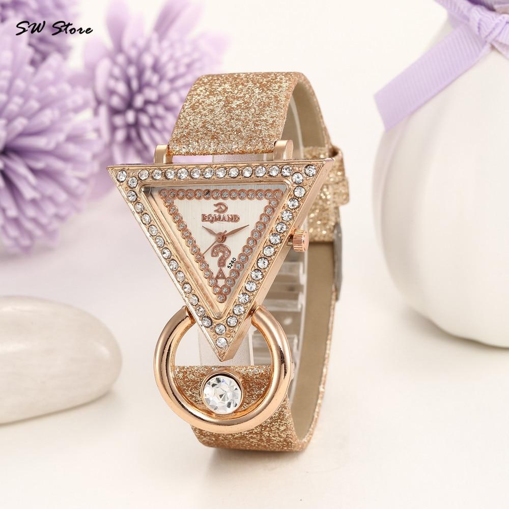 Unique Triangle Leather Strap Ladies Watch Featured Relojes Para Mujer Women Wristwatch Quartz  Temperament Horloge Dames@50
