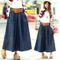 Com Cinto! 2016 Novo longa saia jeans para as mulheres plus size grande mulher ocasional do verão do vintage denim saia mid-calf comprimento saia da senhora